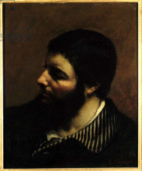 Self Portrait with the Stripe Collar Painting by Gustave Courbet (1819-1877) 19th century Montpellier, Musee Fabre.