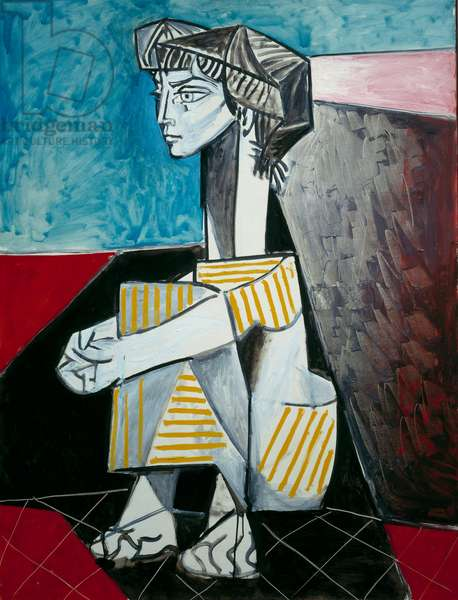 Jacqueline with crossarms Painting by Pablo Picasso (1881-1973) 1954 Sun. 0,11x0,88 m Paris, Musee Picasso