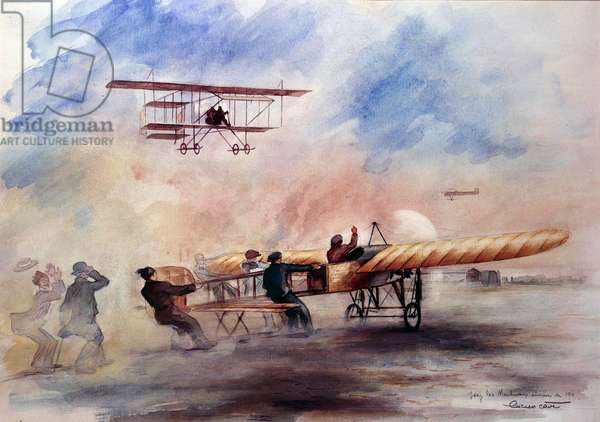 Departed a Bleriot in Issy les Moulineaux in 1911 Painting by Lucien Cave (20th century) 1911. Paris, Air Museum. Careful! Use of this work may be subject to a third party authorization request or additional fees