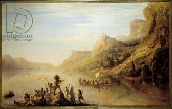 the French explorer Jacques Cartier (1491- 1557) discovered and climbed the St. Lawrence River in Canada in 1535. Painting by Jean Antoine Theodore Gudin (1802-1880), 1847, 142x266 cm. Museum of Versailles.