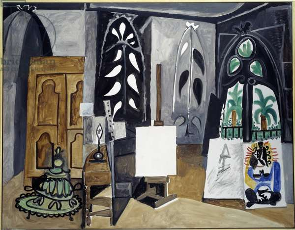 California workshop. View of the painter's studio in the United States with, in the centre, a white canvas mounted on easel. Painting by Pablo Picasso (1881-1973) 1956 Sun. 0,14x1,56 m Paris, Musee Picasso