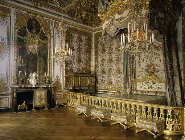 View of the room of the Queen of France Marie Antoinette of Habsburg Lorraine (1755-1793). Versailles, castle museum