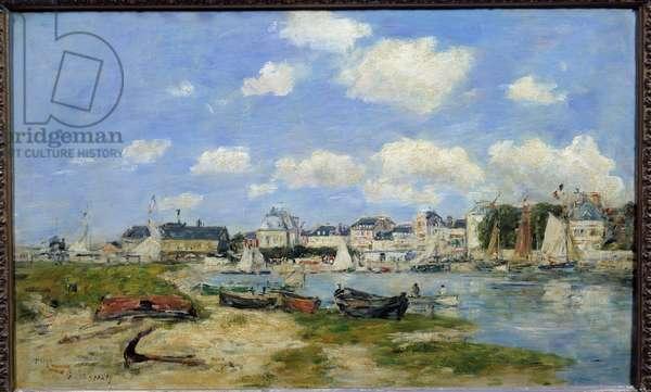 View of Trouville Beach Painting by Eugene Louis Boudin (1824-1898) 1864 Sun. 0,37x0,58 m Lyon, Musee des Beaux Arts