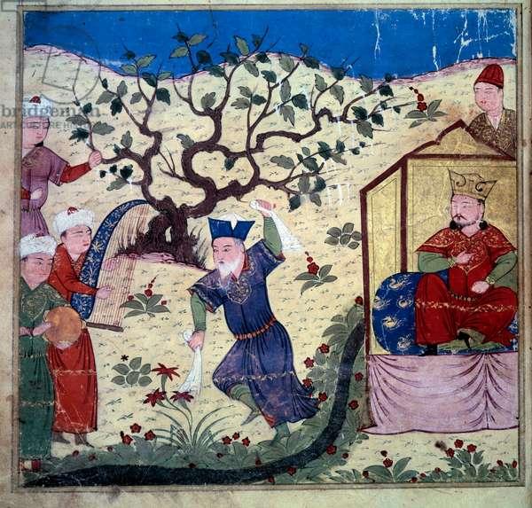 "Musician and man who dances in front of Ghazan (1271-1304). Persian manuscript painted """" Sum of Stories (Djame al-tavarikh) ((Djame al-tavarikh)"""" (Folio 240v), written by Rachid al-Din Fazl-ollah (Fazl ollah) Hamadani and enluminated by Sayf al-Din Naqqash Esfahani Vahedi. BN, paris"