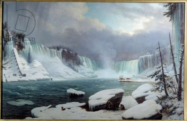 The Great Niagara Cataract, Winter Effect. View of Niagara Falls. Painting by Hippolyte Victor Valentin Sebron (1801-1879), 1857. Oil on canvas. Dim: 1,37 X 2,12m. Rouen, Musee Des Beaux Arts - The great cataract at Niagara, winter light. View of the Niagara Falls. Painting by Hippolyte Sebron (1801-1879), 1857. Oil on canvas. 1.37 X 2.12 m. Beaux-Arts Museum, Rouen, France