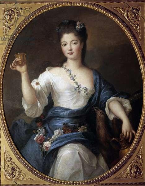 Portrait of Charlotte Aglae d'Orleans (1700-1761) Duchess of Modene Painting by Pierre Gobert (1662-1744) 18th century Sun. 1,2x0,9 m