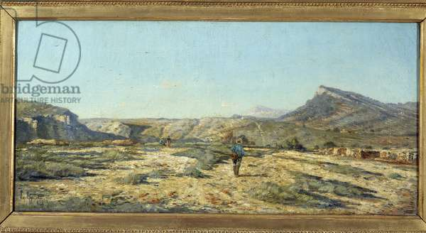 The hills of Allauch A walker in a landscape of Provence. Painting by Paul Camille Guigou (1834-1871), 1862. Sun 1,08x1,99 m Marseille, musee des Beaux Arts