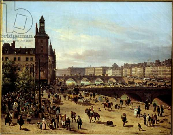 View of the Flower Walk, Clock Tower, Pont au Change and Pont-Neuf in Paris Painting by Giuseppe Canella l'Ain (1788-1847) 1832 Sun. 0,52 x 0,66 m Paris, Musee Carnavalet