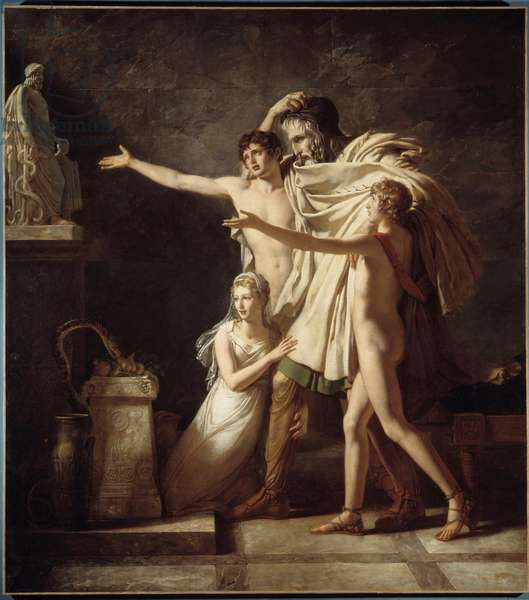 Offer to the god Esculapius Gift of snakes to venerer the Roman god of medicine - Painting by Pierre Narcissus (Pierre-Narcisse) Guerin (1774-1833) 1803 Sun 2,91x2,59 m Arras, Musee des Beaux Arts - The Offering to the god Aesculapius. Gift of snakes to venerate the Roman god of medicine - Painting by Pierre Narcisse (Pierre-Narcisse) Guerin (1774-1833), 1803. 2.91 x 2.59 m. Arras, Fine Arts Museum