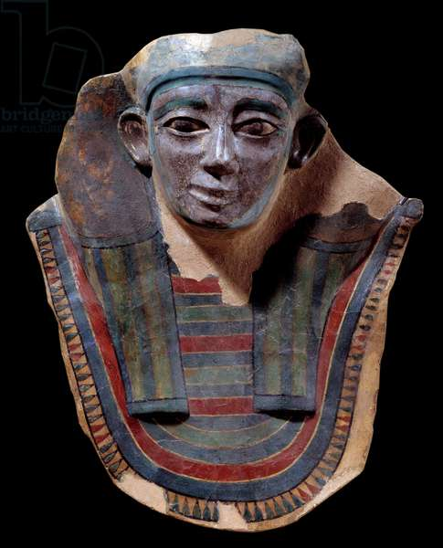 Egyptian antiquite: Mummy mask made of plaster from the Mirgissa site. Middle empire. Paris, Louvre Museum