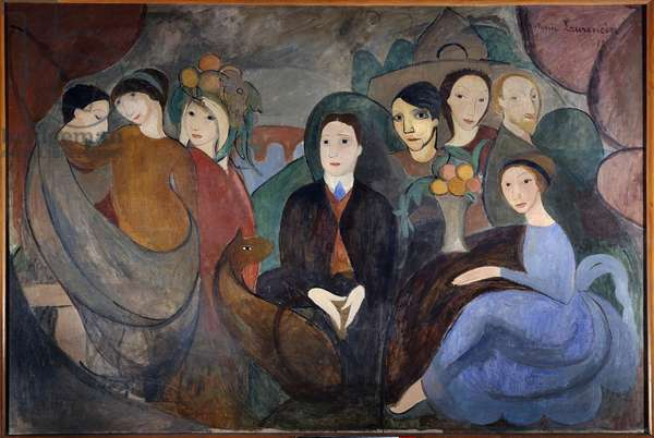 The poet Guillaume Apollinaire (1880-1918) and his friends. Pablo Picasso (1881-1973) is among the characters. Painting by Marie Laurencin (1883-1956) 1909 Sun. 1,30 X 1,94 m. Paris. National Museum of Modern Art