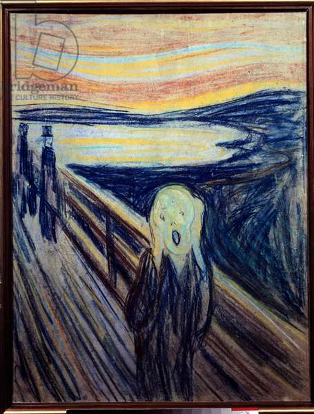 The scream. Painting by Edvard Munch (Edouard or Eduard Munch, 1863-1944), 1893. Pastel. Oslo, Munch Museum