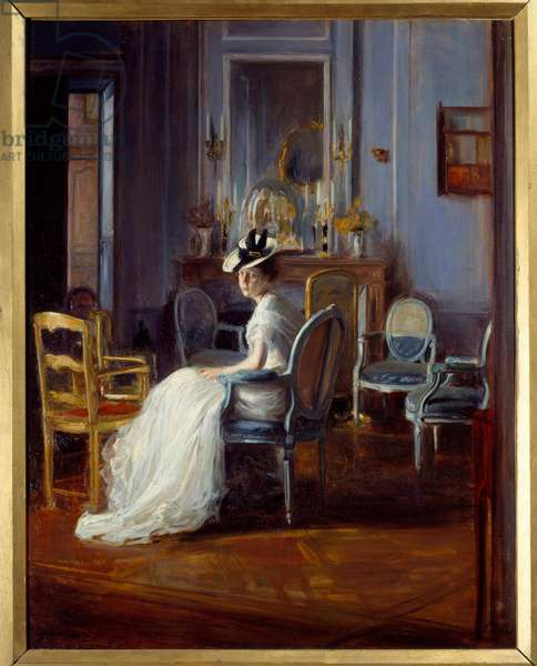 The blue boudoir. Painting by Jacques Emile (Jacques-Emile) Blanche (1861-1942), circa 1905. Lyon, Musee Des Beaux Arts. - The blue boudoir. Painting by Jacques Emile (Jacques-Emile) Blanche (1861-1942), ca.1905. Fine Arts Museum, Lyon, France