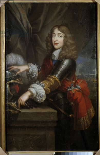 Portrait of the Prince of the House of Stuart formerly James II, King of Great Britain and Ireland (1633-1701) Painting of the French School 17th century. Dim. 1,45 x 0,93 m.