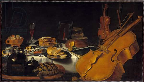 Still life with musical instruments A turtle, a pie, a glass of wine, bread. Painting by Pieter Claesz (1597-1661) (ec.holl.) 1623 Sun. 0,69x1,22 m Paris, musee du Louvre