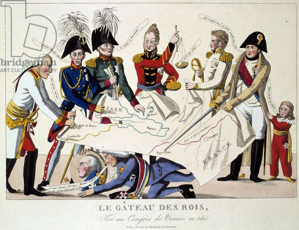 The Vienna Congress on 22/06/1815: the cake of kings. It reunited the eight world powers and sought to redefine the borders after the fall of the Empire of Napoleon I. Alexander I, Tsar of Russia; H.R. Stewart, Castlereagh; Francois Joseph I, Emperor of Austria; Frederic William III, King of Prussia; Karl August, Prince of Hardenbergh; Wilhelm von Humboldt (William of Humboldt, 1767-1835); Prince of Metternich, Winneburg; Earl of Nesseldt Rode; Charles Maurice (Charles-Maurice) by Talleyrand Perigord, Cardinal Consalvi, Cardinal Secretary of State, of the Vatican who share the territories. Engraving from 1815. Paris, Musee Carnavalet