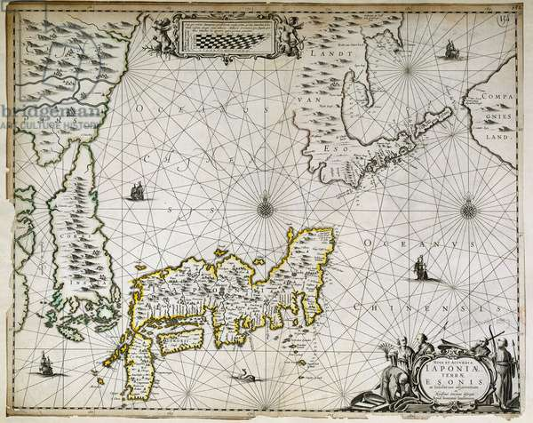 Geographic map of Japan, Korea and South China, 17th century. Paris, BN