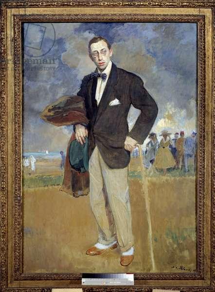 Portrait en pied by Igor Stravinsky (Stravinsky) (1882-1971) composer. Painting by Jacques Emile (Jacques-Emile) Blanche (1861-1942), 1915. Oil on canvas. Dim: 1,75 x 1,24m. Paris. Musee D Orsay. - Full-length portrait of Igor Stravinsky (Stravinski) (1882-1971), Russian composer. Painting by Jacques Emile (Jacques-Emile) Blanche (1861-1942), 1915. Oil on canvas. 1.75 x 1.24 m. Orsay Museum, Paris