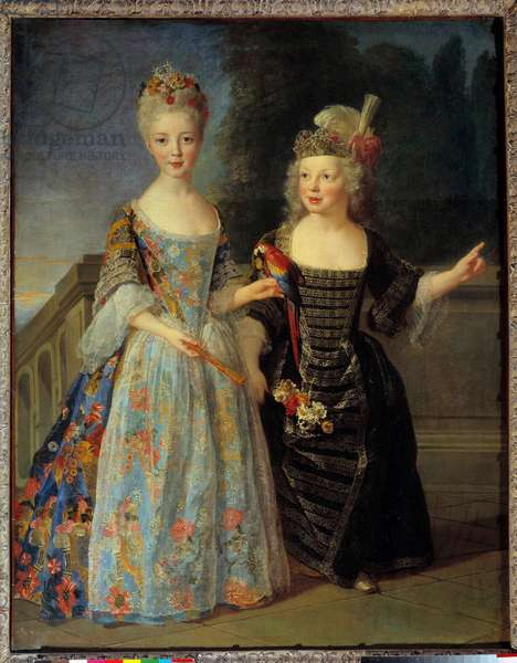 Portrait of Catherine Eleonore Eugenie de Bethisy (1707-1767), future Princess of Montauban and her brother Eugene Eleonore (1709-1781), future Marquis of Mezieres, between 1713 and 1715. Painting by Alexis Simon Belle (1674-1734), 18th century. Oil on canvas. Dim: 1,44 x 1,13m.  - Full-length portraits of Catherine Eleonore Eugenie de Bethisy (1707-1767), future princess of Montauban and her brother, Eugene Eleonore (1709-1781) future marquis of Mezieres, ca 1713-1715. Painting by Alexis Simon Belle (1674-1734), 18th century. Oil on canvas. 1.44 x 1.13 m.