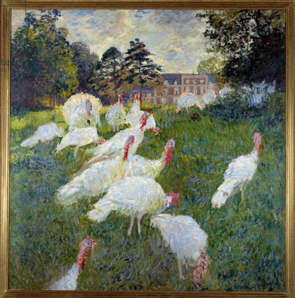 Turkeys (View of the castle of Rottembourg in Montgeron) Painting by Claude Monet (1840-1926) 1877 Sun. 1,74x1,72 m Paris, Musee d'Orsay
