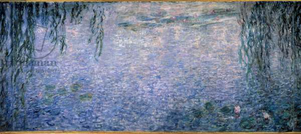 Nympheas, clear morning with willows Triptych central part. Painting by Claude Monet (1840-1926) 1914-1926 Dim. 2 x 4.25 m. Paris. Orangerie Museum