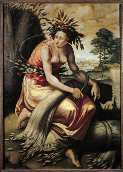 Ceres. Ceres is the Roman goddess of agriculture, harvest and fecondite. Painting by Martin Noblet (second half of the 16th century) 1576 Sun. 1,05x0,74 m Paris, musee du Louvre