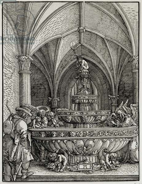 The Holy Family has the fountain. Engraving by German Albrecht Altdorfer (1480-1538). Louvre Museum
