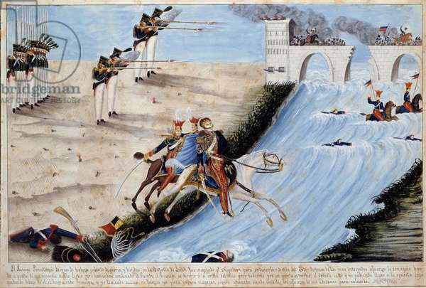 General Joseph (Jozef) Antoni Poniatowski (1763-1813) drowns while trying to pass the Elther in the Battle of Leipzig (Battle of Nations) to avoid being caught by the allies in October 1813 Watercolour of the Spanish School - 1813 Ile d'Aix, Napoleonic Museum