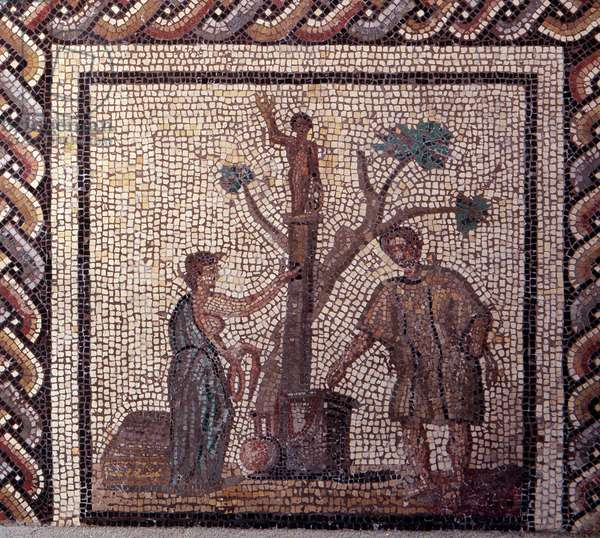 Gallo Roman Art: mosaic paving representing a rustic calendar. Sacrifice scene in Ceres and Apollo. End 2nd, beginning of 3rd century after JC. From Saint-Romain-en-Gal (Rhone). Saint Germain en Laye, National Museum of Archeology