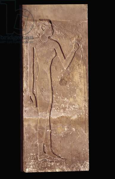 Egyptian antiquite: young woman breathing a lily flower. Low relief of limestone. Old empire, 5th dynasty. 2300 BC. Paris, Louvre Museum