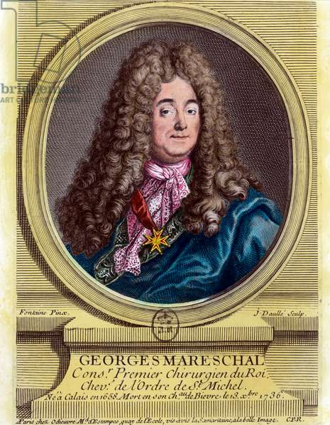 Portrait of Georges Marechal (1658 - 1736), first surgeon of the king from 1703 - 1719. Engraving of the 18th century. Private collection.