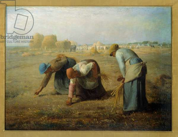 The gleaners. Painting by Jean Francois Millet (1814 - 1875), 1857. Oil on canvas. Dim: 0,83 x 1,11m. Paris, Musee d'Orsay - The gleaners - Painting by Jean Francois Millet (1814-1875), oil on canvas (83 x 111 cm), 1857 - Musee d'Orsay, Paris, France
