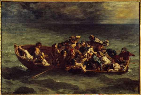 """The sinking of """"Don Juan"""". Illustration of the book by George Gordon Byron called Lord Byron (1788-1824) """"Don Juan"""", song II. Painting by Eugene Delacroix (1798-1863), 1840. Oil on canvas. Dim: 1,35 x 1,96m."""