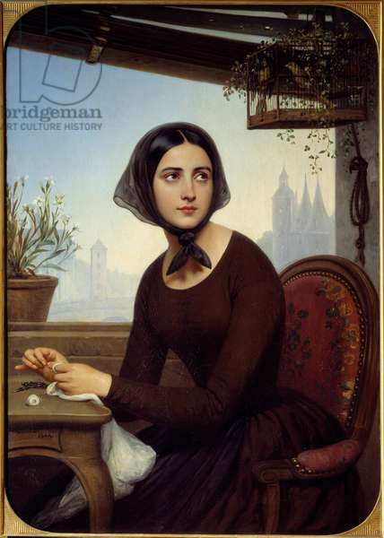 """Funny looking to entertain herself in the absence of Germain Illustration for """"Les mysteres de Paris"""" by Eugene Sue. Painting by Joseph-Desire Court (1798-1865) 1844 Sun. 1,12x0,8 m Rouen, Musee des Beaux Arts"""