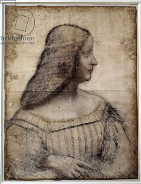 Portrait of a woman known as Isabella d'Este (1474-1539), Marquise of Mantua Drawing with black stone and blood by Leonard de Vinci (Leonardo da Vinci) (1452-1519) Sun. 0,63x0,46 m Paris, Musee du Louvre - Portrait of Isabella d'Este (1474-1539) - Work by Leonardo da Vinci (1452-1519), Charcoal and pastel (63x46 cm), 1500 - Musee du Louvre, Paris, France
