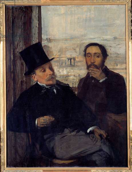 Self-portrait with the painter Evariste de Valernes (1816-1896) Edgar Degas represented himself on the right. Painting by Edgar Degas (1834-1917) 1865 Sun. 1,16x0,89 m Paris, musee d'Orsay - Self-portrait with the painter Evariste de Valernes (1816-1896) - Edgar Degas's on the right. Painting by Edgar Degas (1834-1917), 1865. 1.16 x 0.89 m. Orsay Museum, Paris