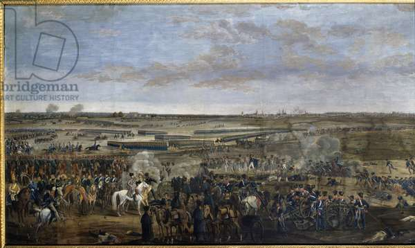 First Empire: Emperor Napoleon I (1769-1821) (on the white horse) at the Battle of Leipzig (Battle of the Nations), October 16-19, 1813 - Anonymous Gouache, 1813 - Boulogne-Billancourt, Paul Marmottan Library