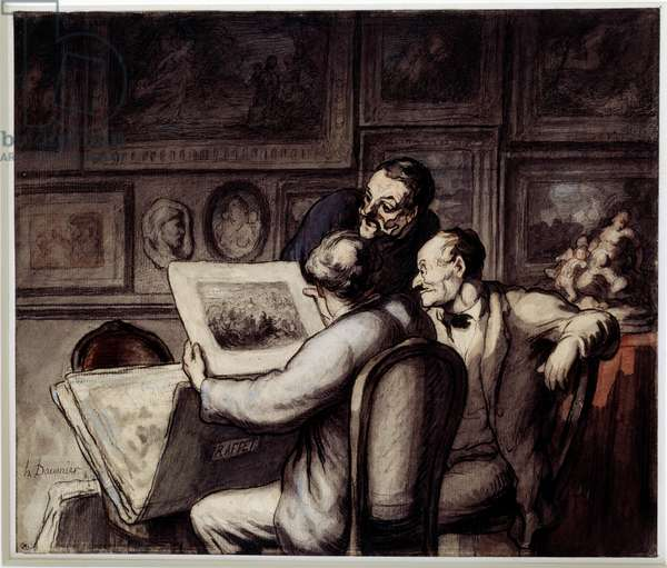 Print lovers. Watercolour, gouache and black pencil, pen and ink of china by Honore Daumier (1808-1879). Sun. 0,26 x 0,31 Musee d'Orsay, Paris