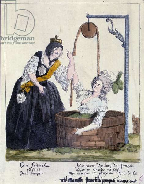 French Revolution: Cartoon against Queen Marie Antoinette (1755-1793) fell to the bottom of a well for wanting to quench her thirst for French blood. 18th century. Paris, B.N.