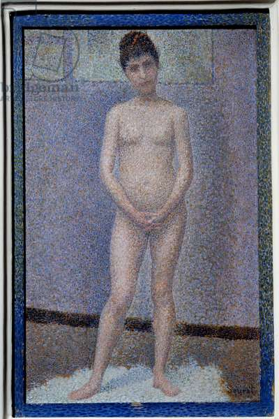 Face-setter Painting by Georges Seurat (1859-1891), 1887. Dim. 0,25x0,16 m Paris, musee d'Orsay - Model from the front (Nude woman) - Peinting by Georges Seurat (1859-1891), oil on panel (25 x 16 cm), 1887 - Musee d'Orsay, Paris, France