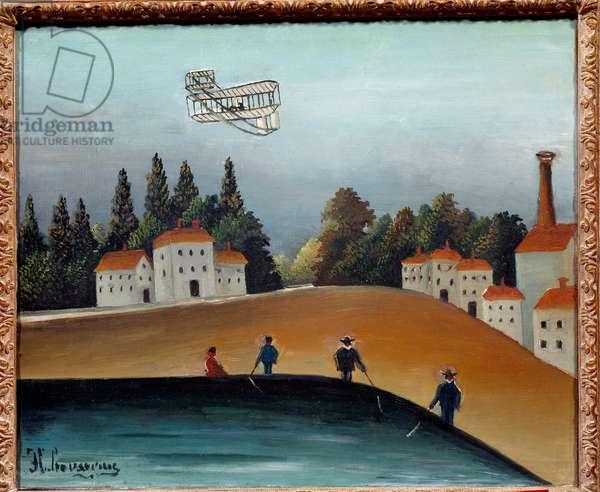 The fishermen have the line. Painting by Henri Rousseau dit Le Douanier Rousseau (1844-1910), 1908. Oil on canvas. Dim: 0.46 X 0.55m. Paris, Musee De l'Orangerie - The anglers. Painting by Henri Rousseau called Le Douanier Rousseau (1844-1910), 1908. Oil on canvas. 0.46 x 0.55 m. Orangerie Museum, Paris
