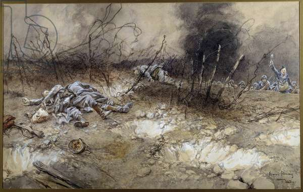 First World War: scene of the Battle of La Craonne on 5/04/1917. Body of infantrymen lying among the beards. Watercolour painting by Francois Flameng (1856-1923) Sun. 0,3x0,56 m Paris, Musee de l'Armee
