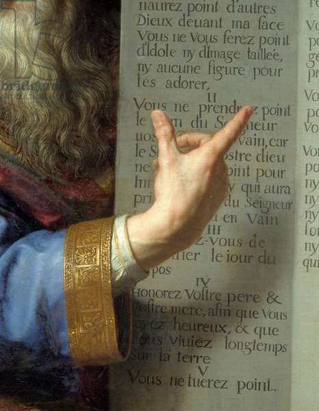 Moses and the tables of the Law, detail of the hand of Moses showing the ten commandments. Painting by Philippe De Champaigne (1602-1674) Ec. Flam., 1663. Oil on canvas. Amiens, Musee De Picardie