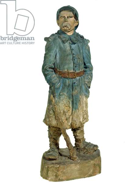 Terracotta statuette depicting Georges Clemenceau (1841-1929) in hairy uniform during the First World War. 1918 Private collection