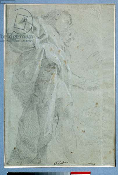 Two men standing drapes Drawing in ink and wash by Carlo Bononi (1569-1632) Dim. 0,27 x 0,39 m Paris. Louvre Museum