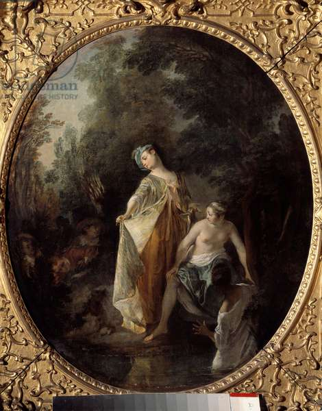 The bathers. Painting by Nicolas Lancret (1690-1743), 18th century. Dim: 0,63 x 0,52m. Rouen, Museum of Fine Arts
