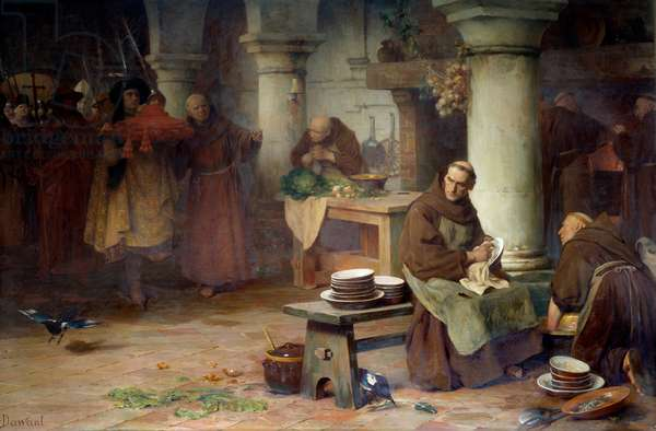 Saint Bonaventure (San Bonaventura) (1217-1274) receiving the purple cardinalice A high official of the Vatican brings the cardinal's bar to the monk occupies the menagery activities in the abbey. Painting by Albert Pierre Dawant (1852-1923) 1897 Sun. 1,4x2,12 m Rouen, musee des beaux arts