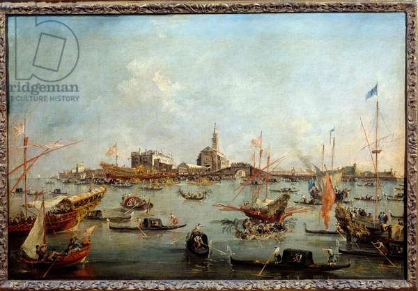 The Doge on the Bucentaurus (Bucentoro) in San Nicolo in Venice on Ascension Day This is probably the Doge Alvise IV Mocenigo (1763-1778). Painting by Francesco Guardi (1712-1793) 1775-1780 Sun. 0,67x1m Paris, Musee du Louvre