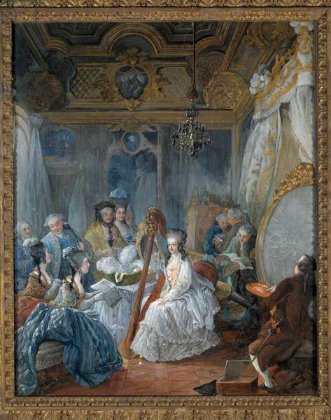 Marie Antoinette of Habsburg Lorraine (1754-1793) Queen of France being painted in her room in 1777 at Versailles Peinture a la gouache by Jean Gautier d'Agoty (1740-1786), 1777. Dim. 0.67 x 0.54 m. Versailles, musee du Chateau - Marie Antoinette of Habsburg Lorraine (1754-1793), Queen of France posing for the painter in his room, at Versailles, 1777. Gouache painting by Jean Gautier d'Agoty (1740-1786), 1777. 0,.67 x 0.54 m.
