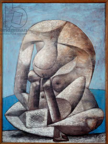 Great book bather. Pastel oil and charcoal on canvas Dim: 1,30 x 0,97m. Painting by Pablo Picasso (1881-1973), 1937. Paris, Musee Picasso.